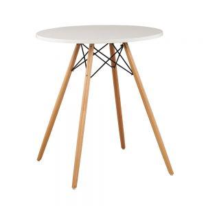 CFD68017 - Bàn cafe tròn 4 chân gỗ đơn giản màu trắng