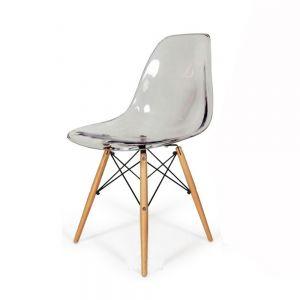 GBC68006 - Ghế bàn cao lưng nhựa ABS chân gỗ màu trong suốt