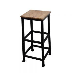 HOGCF68008 - Ghế quầy bar chân sắt mặt gỗ cao su - 35x35x80 (cm)