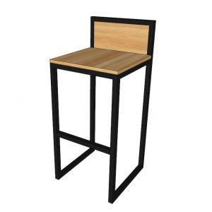 HOGCF68007- Ghế ngồi cao, ghế bar chân sắt đít gỗ có tựa