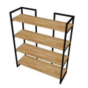 KS68023 - Kệ sách gỗ trang trí 4 tầng khung sắt hộp - 100x30x120 (cm)