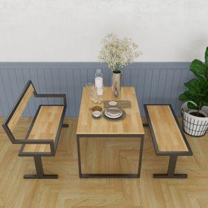 CBPA003 - Combo bộ bàn ghế ăn bằng gỗ SAHO khung chân sắt chữ I