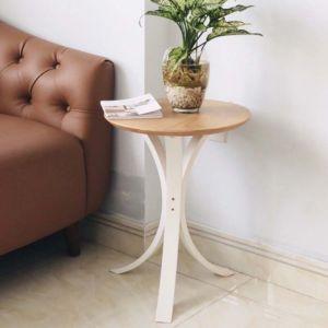 Bàn bên Sofa chân gỗ sơn trắng mặt plywood venner sồi KTB68012