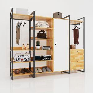 TQA68010 - Hệ tủ kệ quần áo HomeOffice - 280x50x200 (cm)