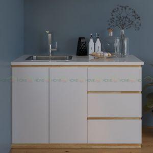Tủ bếp nhỏ gọn bằng gỗ cao su mặt đá 120x60x80cm TBD68001