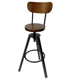 Ghế bar có tựa lưng mặt gỗ chân sắt  GCFSK48