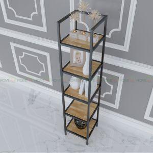 Kệ sách 5 tầng khung sắt gỗ cao su IShefl KTB68050