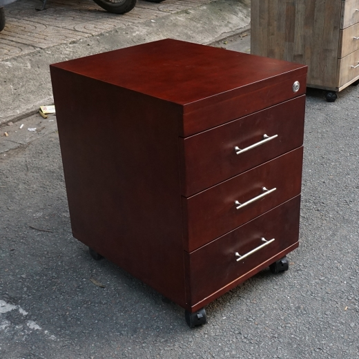 TCN68002 - Tủ hồ sơ cá nhân gỗ tự nhiên có 3 ngăn màu cánh gián - 50x40x50 (cm)