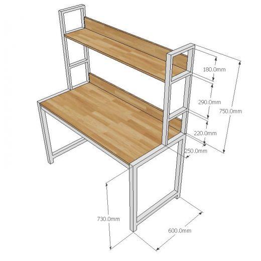 FD68013 - Bàn làm việc kết hợp kệ khung săt gỗ cao su ( 128x60x150cm)