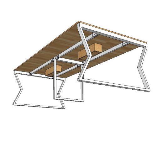 HBMC013 - Bàn họp 120x240cm gỗ cao su chân gấp khúc lắp ráp