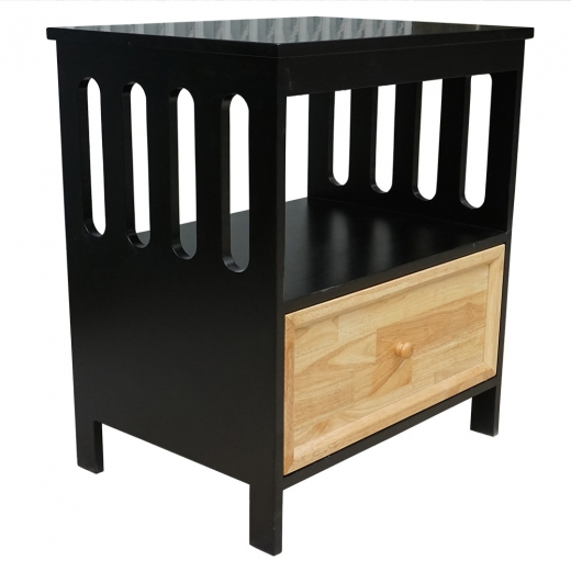 TDG68020 - Tủ đầu giường 1 ngăn kéo màu đen 65x47x72cm