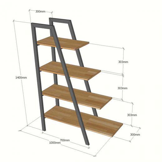 Kệ sách trang trí A-SHELF gỗ cao su khung sắt KTB68030