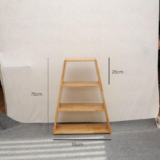 KS68012 - Kệ sách hình thang 3 tầng gỗ cao su - 55x25x75 (cm)