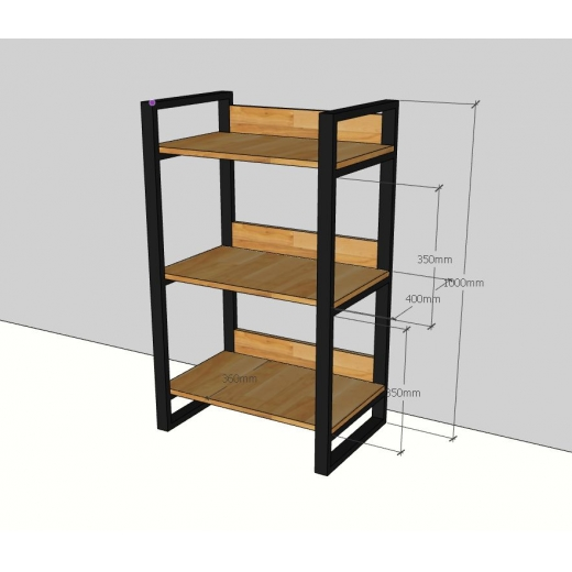 KS68015 - Kệ gỗ khung sắt 3 tầng nhỏ gọn - 60x40x100 (cm)