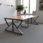 BH68028- Bàn họp 120x240cm gỗ cao su chân sắt K lắp ráp