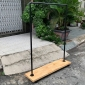 GQA68010 - Giá treo quần áo bằng ống nước kết hợp kệ gỗ có bánh xe di chuyển - 120x30x140 (cm)
