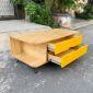 TT68029 - Bàn trà sofa gỗ chân Pinleg 2 hộc kéo màu vàng - 100x50x40 (cm)