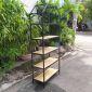 Kệ sách trang trí HOME-SHELF khung sắt gỗ cao su KTB68051