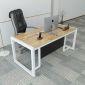 BGD68044 - Bàn giám đốc 80x160cm gỗ cao su chân sắt chữ T