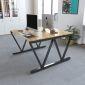 BNV68054 - Bàn cụm 2 gỗ cao su chấn sắt chữ V (120x120x75cm)