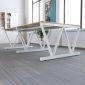 BNV68061 - Bàn cụm 4 gỗ cao su chân sắt V lắp ráp (120x240x75cm)