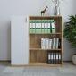 THS68016 - Tủ kệ hồ sơ 120x120cm 3 tầng kệ gỗ cao su 1 bên cửa