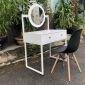 BTD68019 - Bàn trang điểm Full trắng 2 hộc kéo chân sắt gương tròn ( 80x50cm)