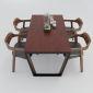 Bàn ăn 140x80cm gỗ cao su chân sắt hình thang cân BA68014