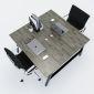 HBAC014 - Bàn cụm 2 120x120 AConcept chân sắt lắp ráp