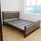 GN68011 - Giường ngủ khung sắt Ferro gỗ cao su Pu nâu độc đáo ( 206x160x35cm)
