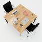 HBOV012 - Bàn cụm 2 120x120 hệ Oval Concept lắp ráp