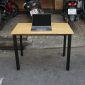 BFOB001 - Bàn làm việc Oval Bamboo 100x60cm chân sắt lắp