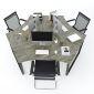 HBTC025 - Bàn cụm 3 người 240x208 Trapeze Concept chân sắt lắp ráp
