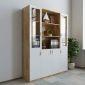 THS68019- Tủ hồ sơ 3 cụm 160x40x220cm gỗ cao su