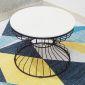 TT68059- Bàn sofa đồn hồ cát khung đen mặt đá trắng