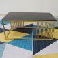 TT68055- Bàn Sofa chữ nhật khung vàng đồng mặt kính đen