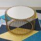 TT68067- Bàn Sofa Lồng chim màu vàng đồng mặt đá trắng