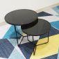 TT68077- Bộ 2 bàn Sofa chân tia chớp sơn đen mặt kính đen