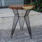 BMT023 - Bàn cafe gỗ me tây tròn 60cm dày 5cm chân sắt