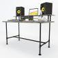 Bàn phòng thu StudioDesk đơn giản chân ống nước gỗ cao su ( 140x70x92cm) SD68002