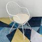 GCF016- Ghế Cafe QUEEN sắt sơn tĩnh điện trắng có nệm