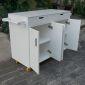 KB68018 - Bàn đảo bếp di động Full Trắng có bánh xe mặt đá (110x50x90cm)