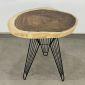 BMT045- Bàn cafe tròn gỗ Me Tây Nguyên Tấm dày 5cm chân Sọc Phi