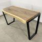 BMT040 - Bàn gỗ Me Tây Nguyên Tấm dày 5cm chân Trapez (65x120cm)