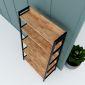 KKS003- Kệ khung sắt hình thang 5 tầng gỗ cao su (45x85x160cm)