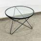 TT68083 - Bàn Sofa 3 chân chữ V mặt kính sơn khung đen