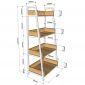 KS68092 - Kệ CASAN 4 tầng gỗ kết hợp khung sắt 60x36x126(cm)