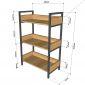 KS68075 - Kệ VEGA 3 tầng gỗ kết hợp khung sắt 60x32x93(cm)