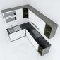 BTB68005 - Hệ tủ bếp chữ L gỗ cao su hiện đại ( không bao gồm mặt đá và bồn rửa)