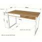 Bàn học 120x60x75(cm) có hộc kéo gỗ cao su chân sắt lắp ráp BD68061